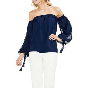 Vince Camuto Off the Shoulder Navy Blouse Small